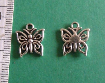 set of 2 silver Butterfly charms 15mmx13mm