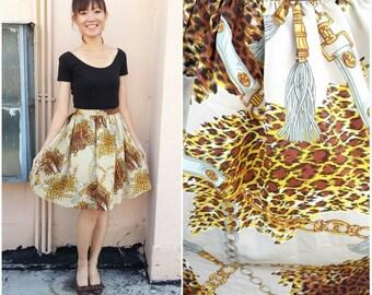 Vintage Skirt/ Leopard Chain Tassel Skirt/ Small Skirt/ XS Skirt/  Animal Print Skirt/ Fun Skirt/ Leopard Skirt/ XS /S