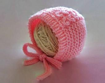 Newborn girl bonnet, baby girl hat, girl hospital hat, pink baby bonnet, newborn girl hat, cable girl bonnet, knit newborn hat
