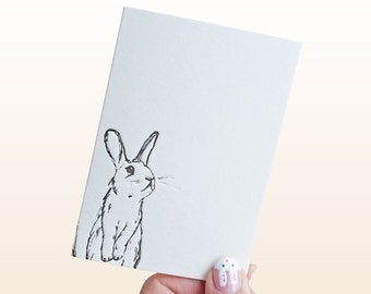 Easter rabbit letterpress notecards, bunny note cards, rabbit cards A6, small cute bunny stationery cards, easter bunny cards