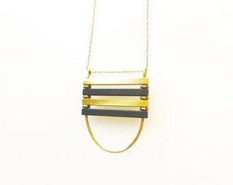 Gold and Black Bars Necklace