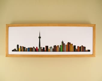 """Toronto Skyline- 24"""" by 8"""" Recycled Wood Silhouette Wall Art"""