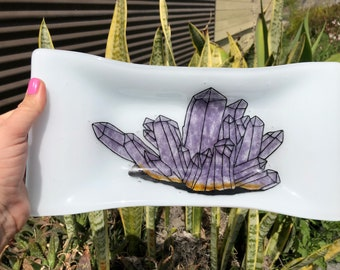 Fused Glass Tray With Handpainted Amethyst