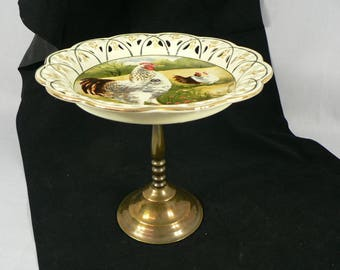 Compote Plate Rooster & Hens  on Brass Pedestal    01977g1407a
