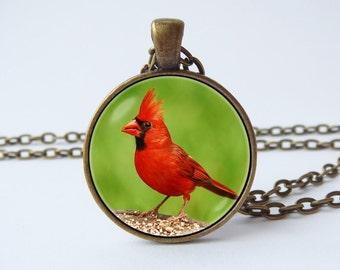 Red cardinal necklace Red cardinal bird Red cardinal jewelry Red cardinal pendant Bird jewelry Gift for her Red cardinal art Little bird