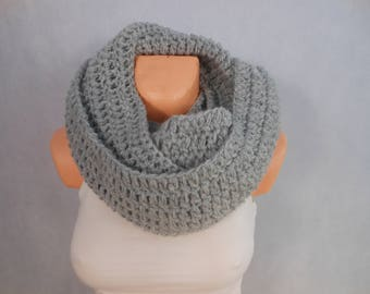 Crochet Infinity Scarf Cowl Neck Warmer Gray Choose Your Color