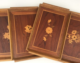 Vintage Mid Century Wooden Trays with Floral Inlayed Design Set of Four Serving Large
