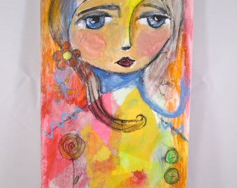 Original Mixed Media Girl with Red Rose Wood Canvas OOAK Ceville Designs