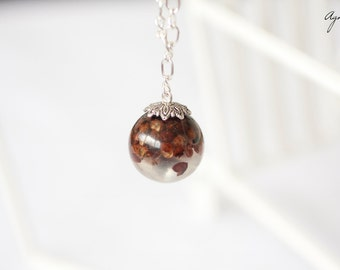 Resin jewelry ball sphere necklace -Peppers resin Pendant -Chain necklace