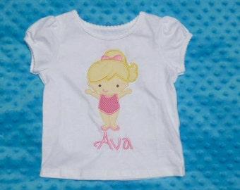 Personalized Gymnast Gymnastics Applique Shirt or Bodysuit Girl