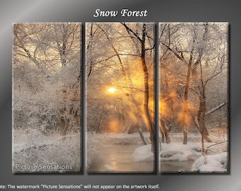 Framed Huge 3 Panel Snow Sunshine Winter Forest Giclee Canvas Print - Ready to Hang