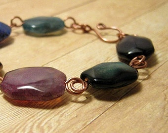 Rustic Copper Multi Color Beaded Bracelet, Chunky Stone  Beaded Jewelry, Rainbow Agate
