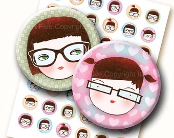 Geek School Girls 1 inch circles digital collage sheet. Whimsical printable images for bottle caps size magnets, badges, scrapbooks etc