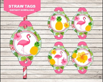 Flamingo Straw tags instant download, Pineapple Straw toppers, Pink Party Pool Party Straw toppers