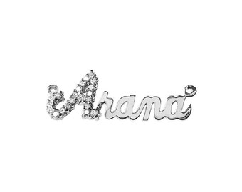SNP04cz Silver Shimmering Script Letter Name Pendant with Cubic Zirconia