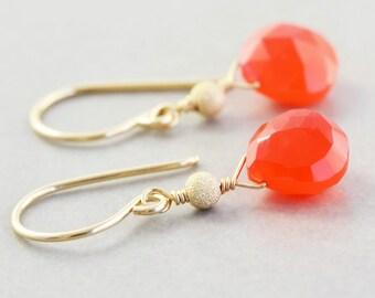 Orange Dangle Earrings, Neon Earrings, Bright Orange Chalcedony Earrings