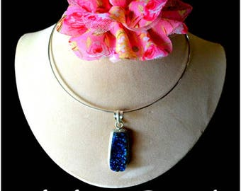 Sterling Silver Nature Druzy blue