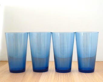 Vintage Set of 4 Blue Libbey Large Drinking Water Glasses