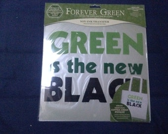 """Green is the New Black Iron-on 9"""" by 9"""""""