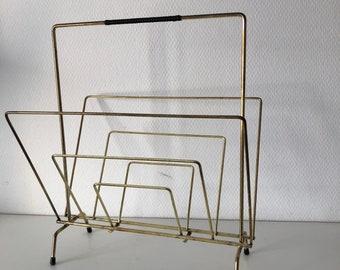 Vintage 1960's Gold brass magazine rack