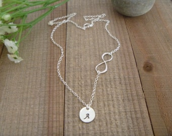 Personalized Infinity Necklace - Sideways Initial Necklace - Three Initial - One Two Four Five Six - Birthday Gift - Mommy Necklace