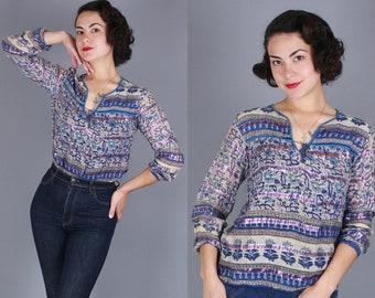 1970s Indian Cotton blouse | small / medium | vintage 70s light blue & metallic semi-sheer lightweight bohemian top