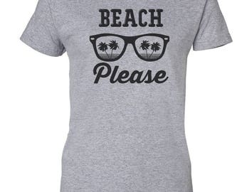 Beach Please Custom Women's Ultra Cotton Gildan Fashion T-Shirt-Sport Gray