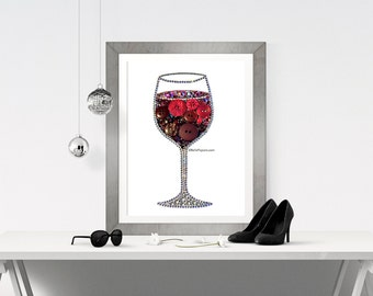 11x14 Button Art Wine Glass Decoration Red Wine Button Wine Glass Swarovski Crystals red wine 11x14 wine lover's new home