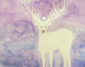 White Deer of the New ~ Original Watercolour Painting