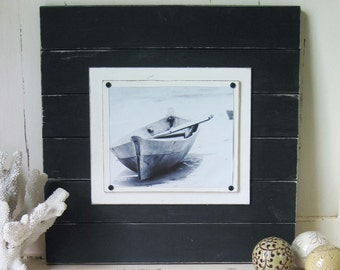 Xtra Large Distressed Black 21x21 Plank Frame 8x10 picture