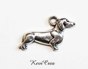 5 x silver metal dog charms