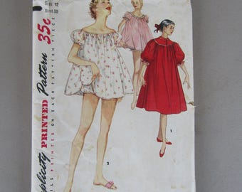 Simplicity #1102 Pattern for Misses Nightgown, Shortie Nightgown and Panties Size 12 Uncut