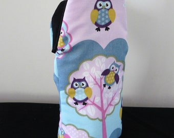 Oven Glove - owls on pink blue
