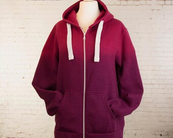 Hoody zip up pink dip dye hoodie ombre hoodie gradient hoody pink sweater top warm hoodie clothing gift ombre dyed zip up size 20
