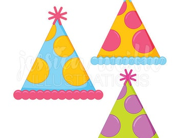 Polka Dot Party Hat Cute Digital Clipart, Party Hat Clip art, Party Hat Graphics, Party Hat Illustration, #236