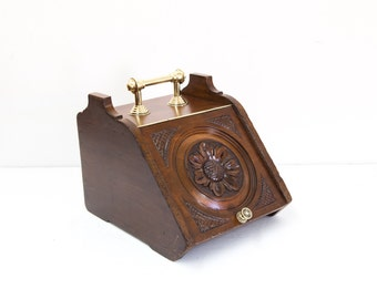 Carved English Coal Scuttle