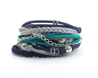 Blue Gray Teal Wrap Bracelet, boho wrap bracelet, hippie gypsy bracelet, vegan bracelet, colors trends, beads bracelet, gift for girlfriend