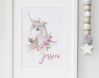 Personalised watercolor Unicorn print- nursery, bedroom, playroom print