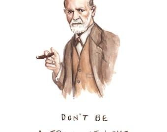 Funny Card Sigmund Freud - Don't Be A Freud Of Love - Valentines Birthday Card - Bad Pun