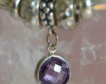 Sterling Silver Amethyst Cubic Zirconia European Charm Dangle Charm - Fits all European Charm Bracelets