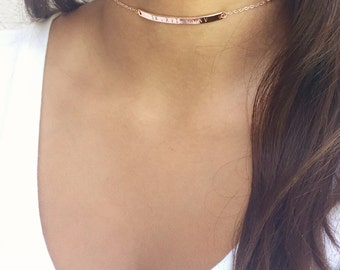 Choker Gold Choker Rose Gold Personalized Necklace Gold Chain Gift for Women Handmade Jewelry Name Necklace Custom