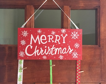 Wooden hand painted Holiday card holder plaque with festive ribbon