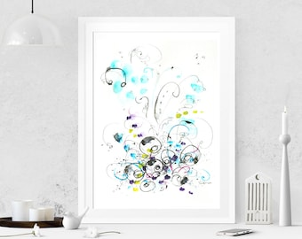 Abstract painting on paper Abstract art Watercolor painting Modern art Original painting Abstract wall art Wall hanging Acrylic painting