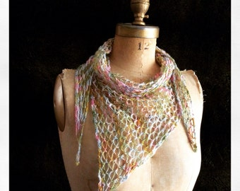 Mother's Day Knitting Pattern Scarf Triangle Knit on Bias Any Size Written Text Direction Instant PDF Download Easy Quick Knit Gift Idea