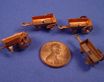 4 Vintage Copper Plated Garden Wagons