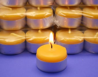 Beeswax Candles, Beeswax Tea Lights, 60 Beeswax Tealight Candles In Aluminum Cups, Pure Beeswax Candles, Bulk Candles, Bulk Tealight Candles