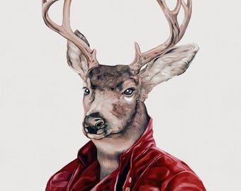 Deer Art Print, Deer in Leather, Animal in Clothes
