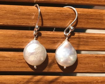 Sweet and simple Pearl and Sterling Dangles, Bridal, Classic