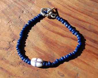 Indian Trade Bead - French Cross & Lapis Bracelt