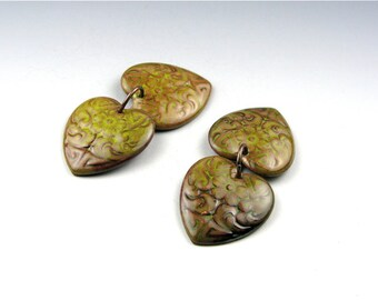 Enameled Etched Hearts /  Bitter Green Enamel / Made to Order